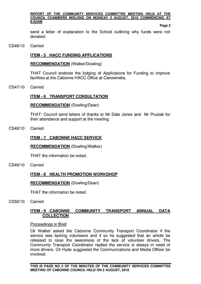Agenda of Ordinary Meeting - 23 August 2010